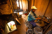 Man working in the his pottery workshop — Stock Photo