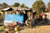 Poor people near their houses at slums in Tripureshwor — Foto de Stock