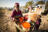 Poor people near their houses at slums in Tripureshwor — Stock Photo