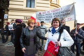 Unidentified participants during protest near Krakow Opera — Stock Photo
