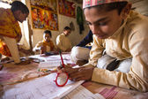 Children doing homework in Nepal school — Stock Photo