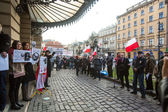 Anti russian protest in Cracow — Stock Photo