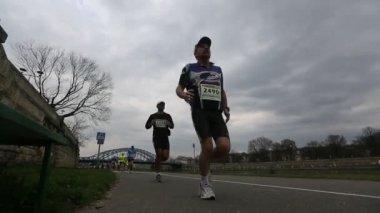 Marathon van krakau. — Stockvideo