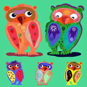 Set of Cute Owl — Stock Vector