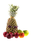 Pineapple and fresh apples — Stock Photo