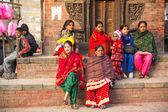 Women sit on Old Durbar Square — Stock Photo