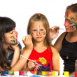 Two girl playing with painting with sister — Stock Photo #44950221