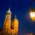 St. Mary's Church on Krakow Market Square — Stock Photo