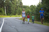 Participants during of local competitions in Nordic walking — Foto Stock