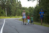 Participants during of local competitions in Nordic walking — Stockfoto