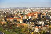 Aerial view of Royal Wawel castle with park — Stock Photo