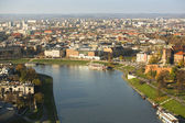 Aerial view of the Vistula River in the historic city center — Stock Photo