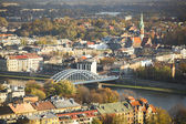 Aerial view of the Vistula River in the historic city center — Stockfoto