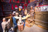 Unidentified Nepalese man working in the his wood workshop — Stock Photo