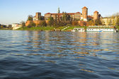View of Royal Wawel castle with park — Stok fotoğraf