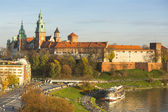 View of Royal Wawel castle with park — Stockfoto