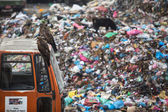 Pile of domestic garbage at landfills — Stockfoto