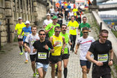 Participants during the annual Krakow international Marathon — Stock Photo