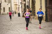Participants during the annual Krakow international Marathon — Stock Photo