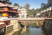 During the cremation ceremony along the holy Bagmati River — ストック写真
