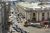 Cars stands in traffic jam on the city center — Photo