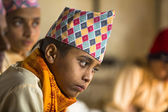 Children during the reading of texts in Sanskrit — Stock Photo