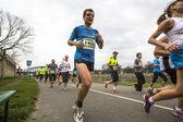 Unidentified participants during the annual Krakow international Marathon — Stock Photo