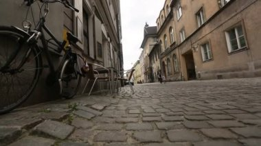 Cobble road, paving, in historical center of Krakow, old city — Stock Video