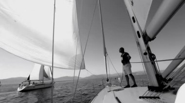Sailing regatta on Saronic Gulf (Black and white video) — Stock Video