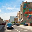 Graffiti murals by unknown artist created of the Katowice Street Art Festival — Stock Photo #45246471