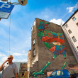 Graffiti murals by unknown artist created of the Katowice Street Art Festival — Stock Photo #45246487