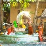 Unidentified monk children play at a Buddhist monastery Wat Klong Prao — Stock Photo #45247319
