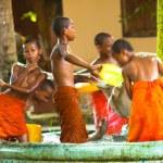 Unidentified monk children play at a Buddhist monastery Wat Klong Prao — Stock Photo #45247359