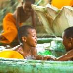 Unidentified monk children play at a Buddhist monastery Wat Klong Prao — Stock Photo #45247387