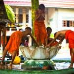Unidentified monk children play at a Buddhist monastery Wat Klong Prao — Stock Photo #45247421