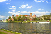 View of Royal Wawel castle with park — Stock Photo