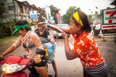 People celebrated Songkran Festival — Stock Photo