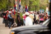 Participants of protest on the Cambodia -Thailand border — Stock Photo