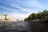 On boat along channels city — Foto Stock