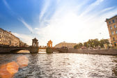 On boat along channels city — Stok fotoğraf