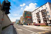 Graffiti murals by unknown artist created of the Katowice Street Art Festival — Stock Photo