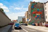 Graffiti murals by unknown artist created of the Katowice Street Art Festival — Stockfoto