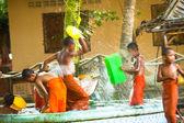 Unidentified monk children play at a Buddhist monastery Wat Klong Prao — Stock Photo