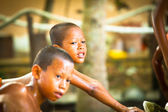 Unidentified monk children play at a Buddhist monastery Wat Klong Prao — Stock Photo