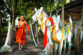 Unidentified child spend a monk at a Buddhist monastery Wat Klong Prao — Foto Stock