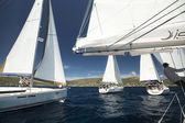 Unidentified sailboats participate in sailing regatta — 图库照片