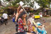 People celebrated Songkran Festival — Stock Photo
