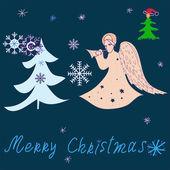 Christmas tree and angel — ストックベクタ