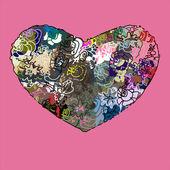 Corazón sobre un fondo rosa. — Vector de stock