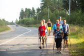 Unidentified participants during of local competitions in Nordic walking — Stock Photo